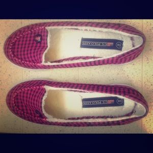 EUC Black & Pink Checked Slip Ons